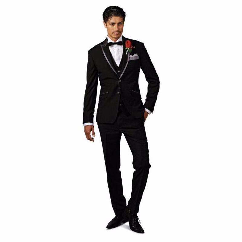 Custom Groom Tuxedos Two-Button Wedding Suits for Men Designer Suits For Men Business Suit ( Jacket+Pant+Tie+Vest)(China (Mainland))