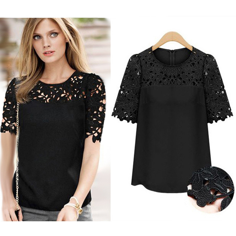Plus Size S-5XL 2015 Spring New Womens Sexy Short Sleeve Embroidery Shirts Floral Lace Crochet Big Size Female Top Shirt Blouse(China (Mainland))