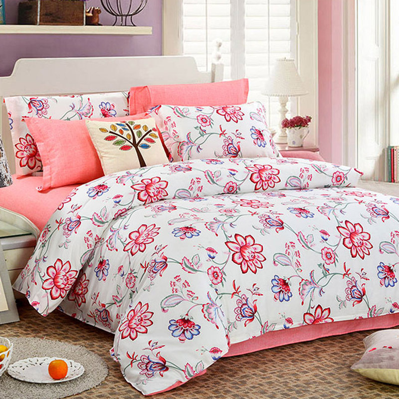 HELLO logo bedding set 4pcs 100%cotton Simple duvet quilt bed cover 100%cotton queen size bedclothes comforter Pastoral style(China (Mainland))