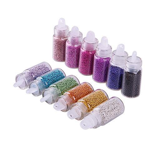 12 Color DIY Bottle Ball Bead Nail Art Tips Rhinestone Decoration Manicure Set # 42702