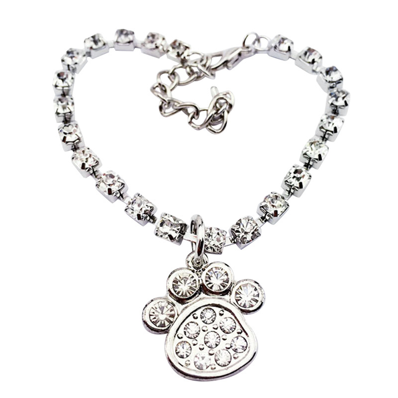 Necklace Dog Tag Diamond Charm Diamante Bone Rhinestone Pendant Pet Collar Puppy PL1(China (Mainland))