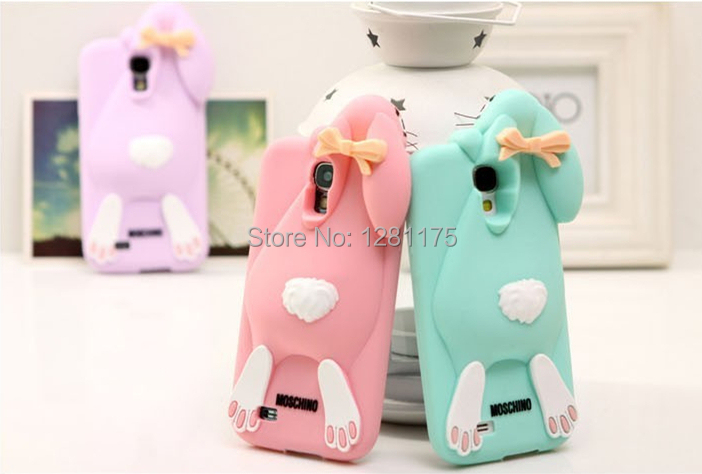 M Brand rabbit Case For Samsung galaxy S4 i9500 3d three-dimensional Cartoon Phone Soft Cases(China (Mainland))