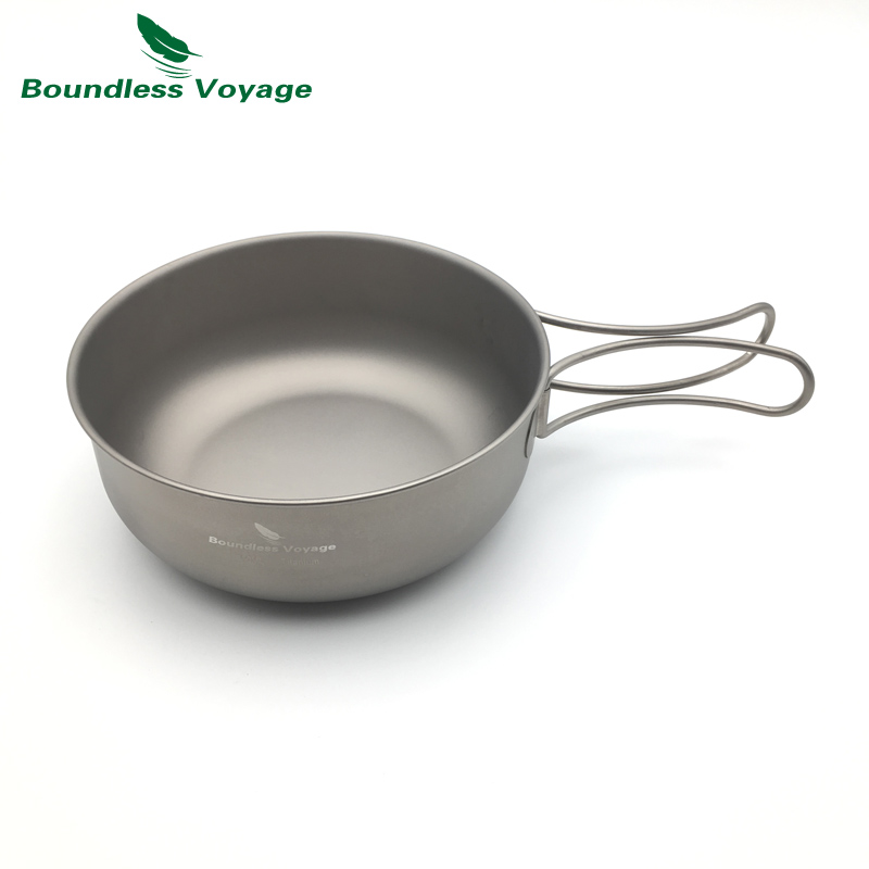 Boundless Voyage Titanium Pan Outdoor Ultralight Cooking Pan Folding Bowls Camping Picnic Flatware Tableware(China (Mainland))