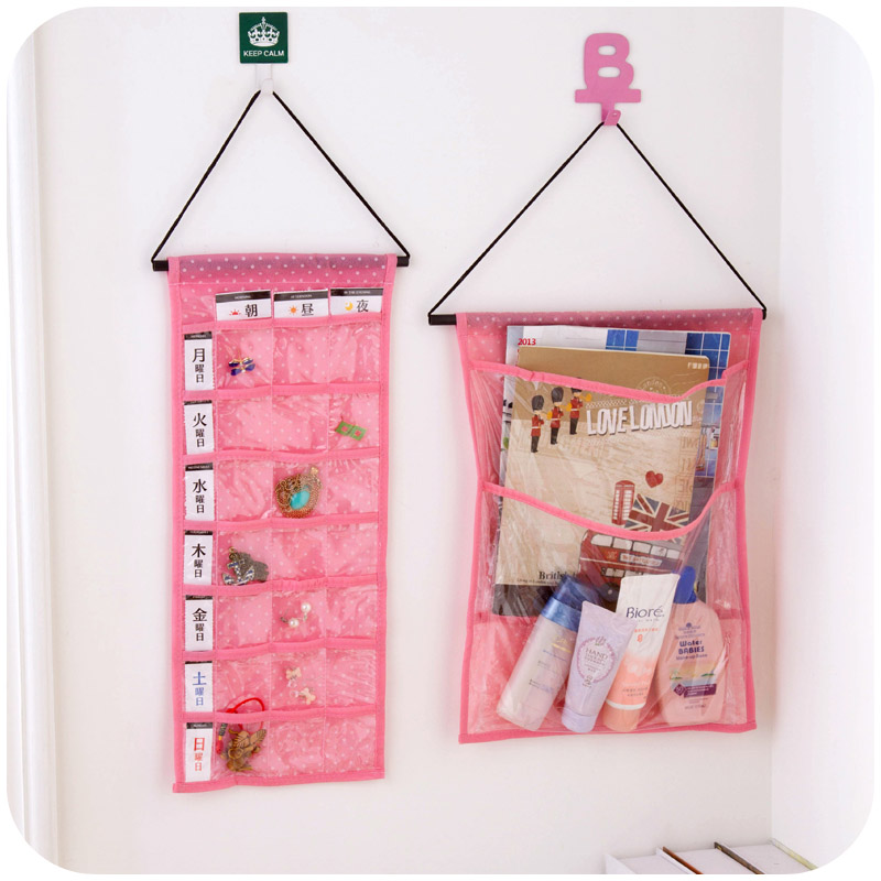 Polka dot Visual multi-layer non-woven storage bag door miscellaneously after jewelry hanging storage bag(China (Mainland))