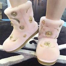 De Las Mujeres elegantes Botas de Nieve Pisos Resbalón En Los Zapatos de Plataforma Mujer Botines de Piel de Invierno Botón Diseñador de Moda Zapatos de Mujer Botas de Tobillo(China (Mainland))