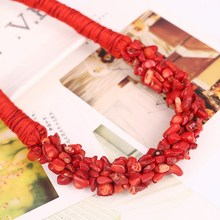 New Bohemia Statement Choker Fashion Charms 100% Natural Coral Stone Gem Collar Necklaces&Pendants Women Fine Jewelry(China (Mainland))