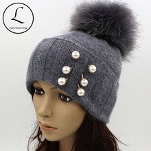 GZHILOVINGL Pearl Earring Hats For Women Real Ball Gray Knitted Hats With Pearls Decoration Warm Thick Striped Caps Gorros 61123(China (Mainland))