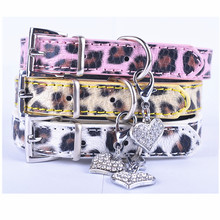 10pcs Fashion Leopard Leather Dog Collar With Tag Rhinestone Heart Accessories Collars For Dogs Mix Colors