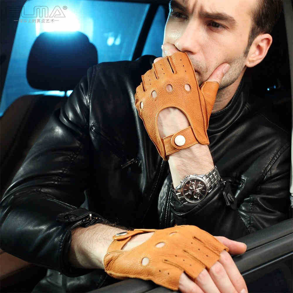 Fashion 2016 Men Deerskin Gloves Wrist Half Finger Driving Glove Solid Adult Fingerless Mittens Real Genuine Leather Limited(China (Mainland))