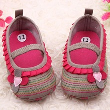 Sweet Baby Shoe First Walker Flower Ruffled Soft Sole Comfort Soft Bottom Toddler Shoes(China (Mainland))