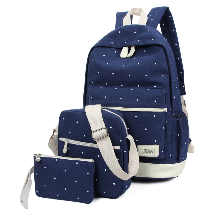 Summer 2016 New Women Canvas Backpack Female Preppy Style Girls school Bag for Teenagers Spot Printing Rucksack with Two Purses(China (Mainland))
