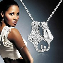 Free Shipping biggest discount price czech Rhinestones Crystal Couple Cats Pendant 18K GP Necklace Sweater chain
