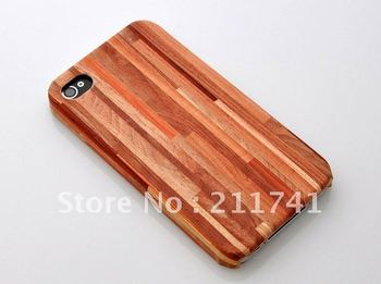 1pcs/lot Natural  Wood Hand-Carved Case Wooden Cover for iPhone 4G 4S with Retail package Free Shipping