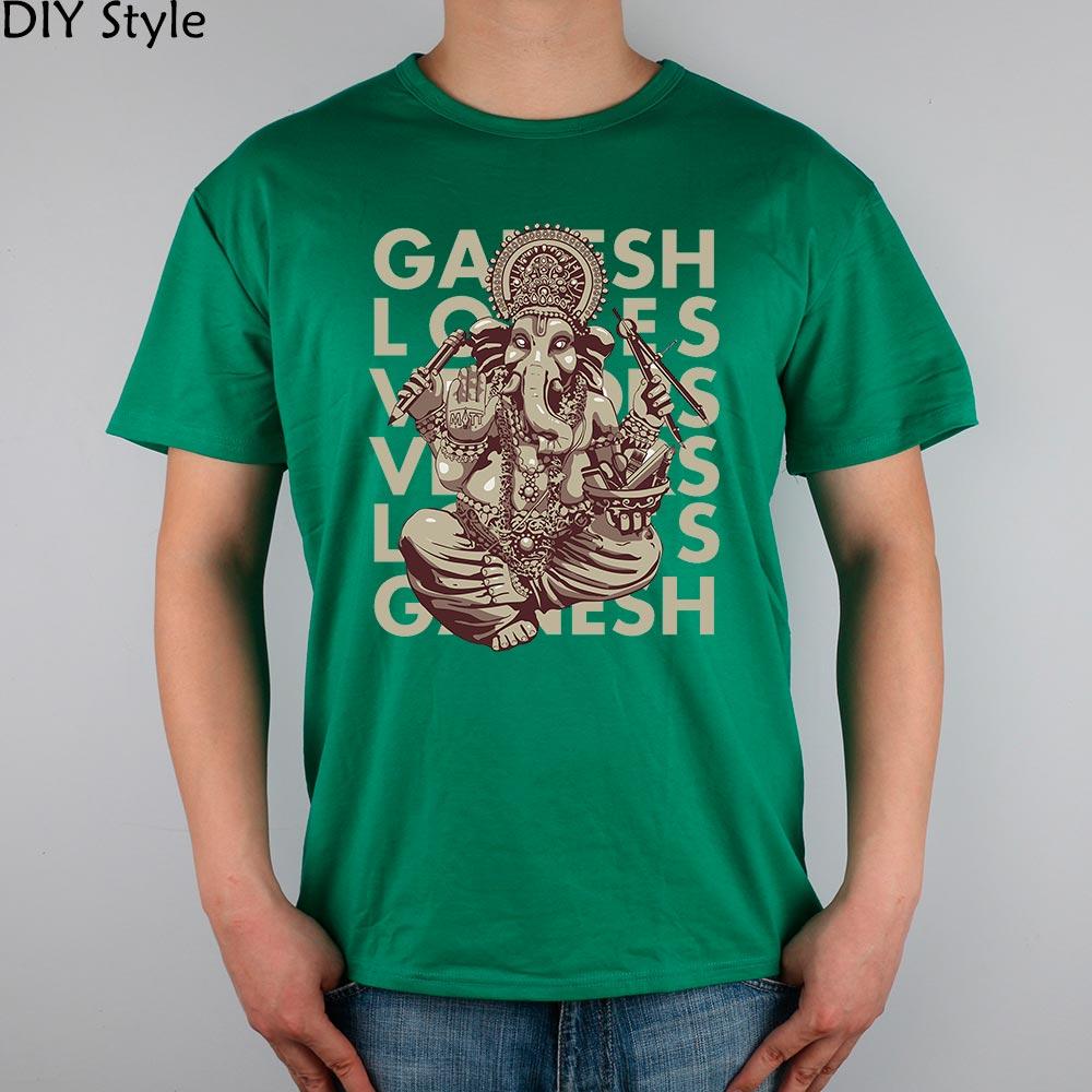 GANESH Artist male elephant god Cotton Lycra T-shirt top new arrival Fashion Brand t shirt for men(China (Mainland))