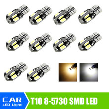 10pcs/lot  T10 8 SMD 5730 CAR DOME 194 168 W5W DC 12V CANBUS OBC ERRO FREE XENON WHITE / Warm White Light bulb Wholesale