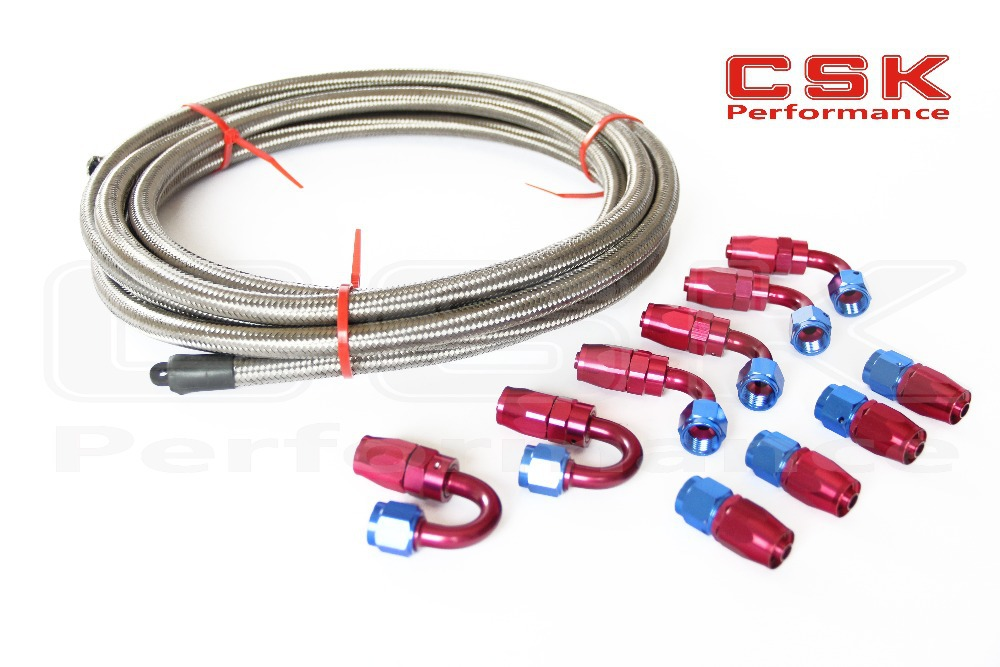 AN6 Stainless Steel Braided Hose AN 6 AN + Fitting Hose End Adaptor KIT(China (Mainland))
