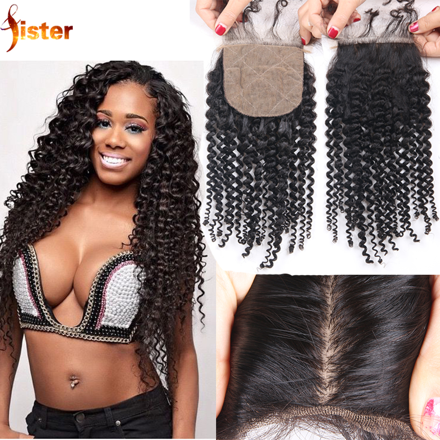Brazilian Kinky Curly Silk Base Closure Virgin Human Hair 4x4 Kinky Curly Silk Base Closure Baby Hair Free Middle Or 3 Part<br><br>Aliexpress