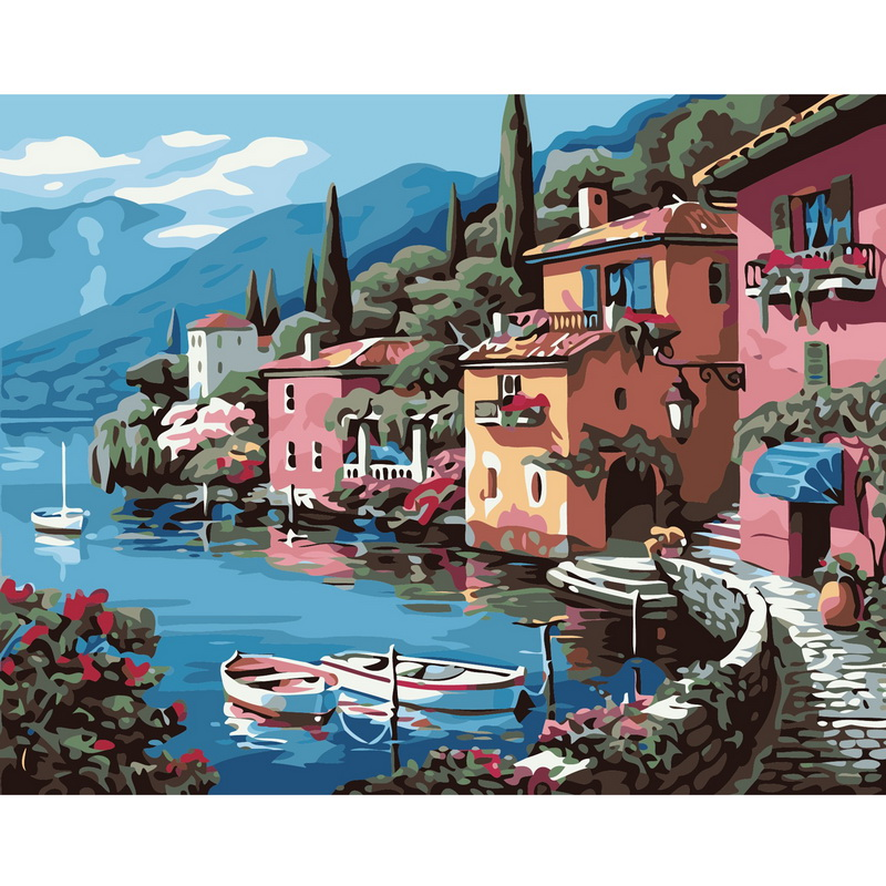 DIY Digital Oil Painting Lakeside Villa Frameless Coloring By Numbers On Canvas Home Wall Decor 40x50cm(China (Mainland))