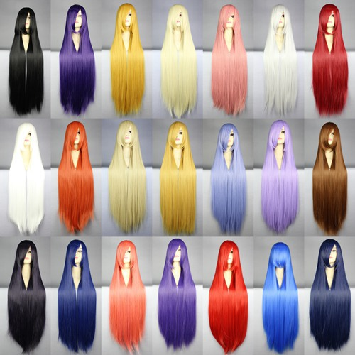 100 Cm Harajuku Anime Cosplay Wigs Young Long Straight Synthetic Hair Wig Bangs Blonde Costume Party Wigs For Women 22 Colors(China (Mainland))