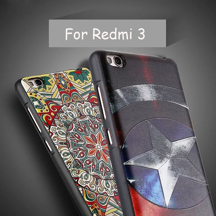 For Xiaomi Redmi 3 Slim Soft TPU Silicone 3D Painting Cartoon Emboss Mobile Phone Case Cover For Xiaomi Redmi3 Cases Cover Shell(China (Mainland))