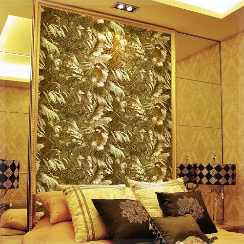 잎 배경 화면 유럽 방수 금 반사 공장 PVC 사진 예술 벽화 벽 종이 ...