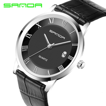 2016 New Crystal Glass Woman Watches Men Quartz Watch Waterproof Leather Watchband SANDA Business Men Watch Free Shipping
