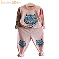 Designer Girls Clothing Sets Tiger Floral Shirts Pants 2Pcs Sport Suit For Girl Floral Baby Girl