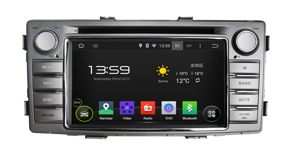 Pure Android 4.4 OS 6.2'' Car DVD Player/Head Unit for 2012 Toyota Hilux AutoRadio,GPS,Navi,Multimedia,Radio,Aux,Ipod,Free ship(Hong Kong)
