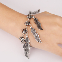 New Fashion 17+5cm Vintage Silver Tassels Chain Coin Feather Leaf Bracelet For Women Fine Jewelry 3309(China (Mainland))
