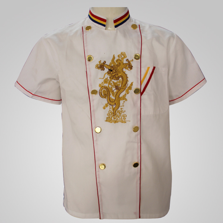 Embroidered dragon supplying chefs clothing, new hotel clothing, short sleeves in summer food service(China (Mainland))