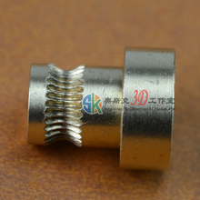 Reprap Mendel 3d printer feeding wheel extruded brass filament drive wheel pressure feed rollers feed roller