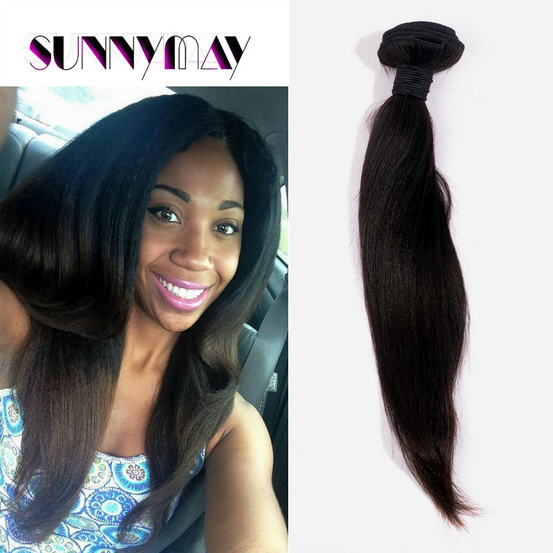 Sunnymay 100g Indian Yaki Straight Hair Weft Yaki Straight Virgin Hair Weave Soft Yaki Straight Hair Bundles For American Women