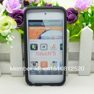 Free Shipping Black 1PC Silicone Case Cover Skin For Apple Ipod Touch 5 Itouch 5 5G Y520 j6qn(China (Mainland))