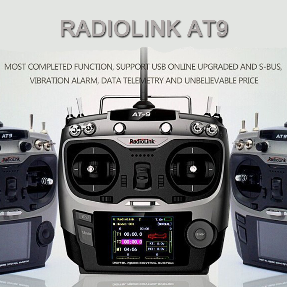 5pcs/lot RadioLink AT9 2.4G 9ch RC Remote Control  Radio Transmitter & Receiver TX + RX+ MINIOSD For Rc Drone Helicopter