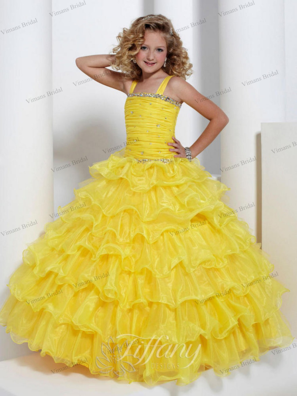 Free shipping 2015 new wedding gowns for kids crystal for Yellow dresses for weddings