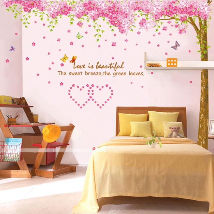 Pcs Romantic Bedroom Living Room Cherry Tree Diy Wall Stickers Home