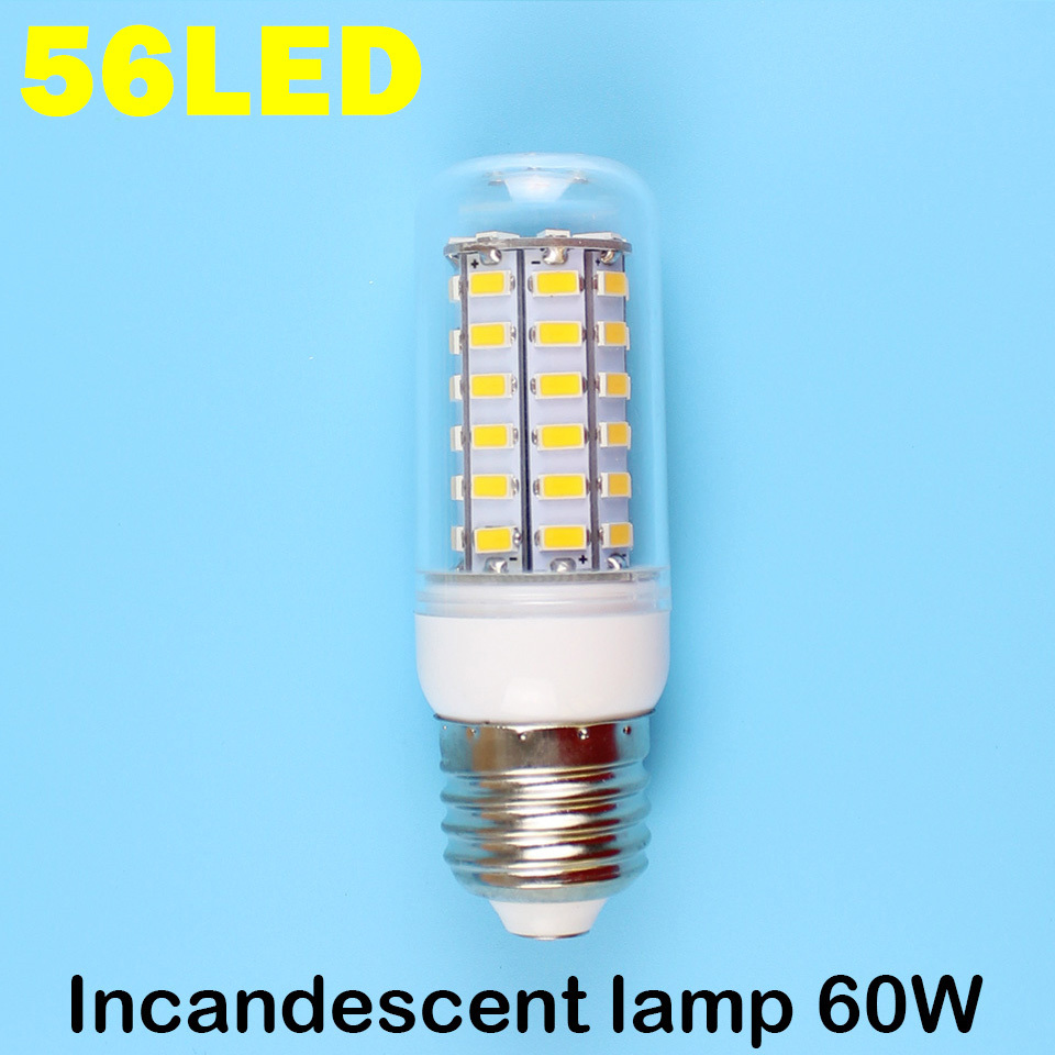 E27 56LEDS SMD 5730 (=Incandescent lamp 60W) LED Corn Bulb 220V - 240V Warm white cold Lights Professional 1+1 store