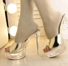 Fashion street style 14cm ultra high heels platform crystal with transparent bottom sexy women's slippers Discount(China (Mainland))