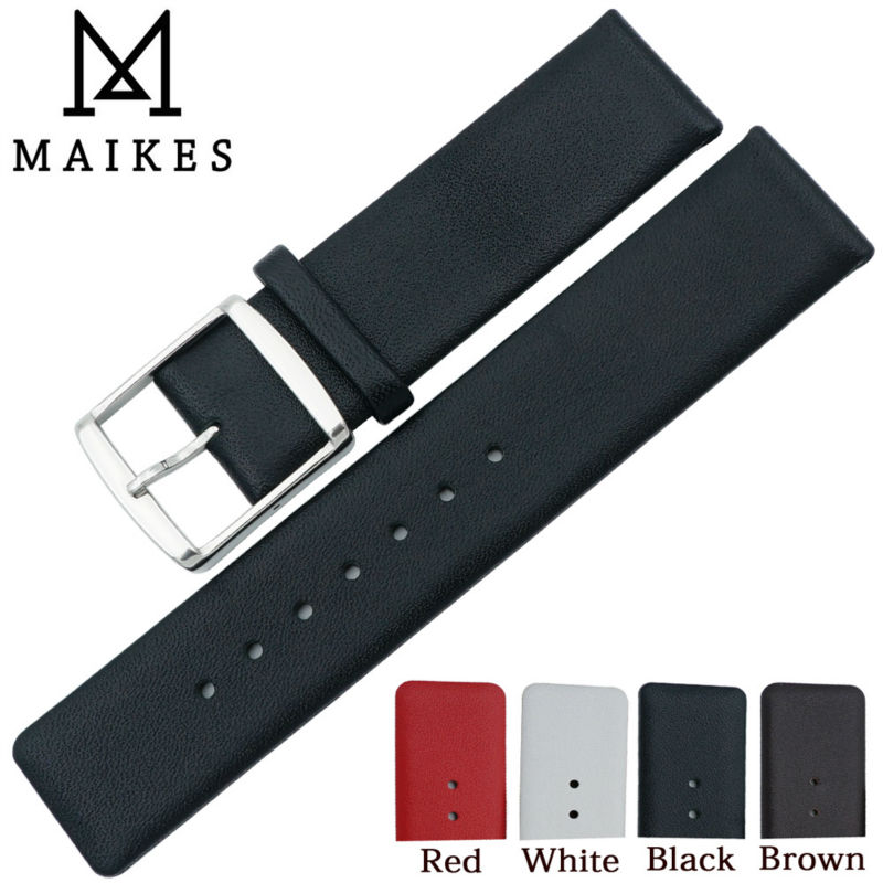 MAIKES 16mm 18mm 20mm 22mm Genuine Leather Watchband Thin Soft Black Watch Strap band Case For CK Calvin Klein(China (Mainland))
