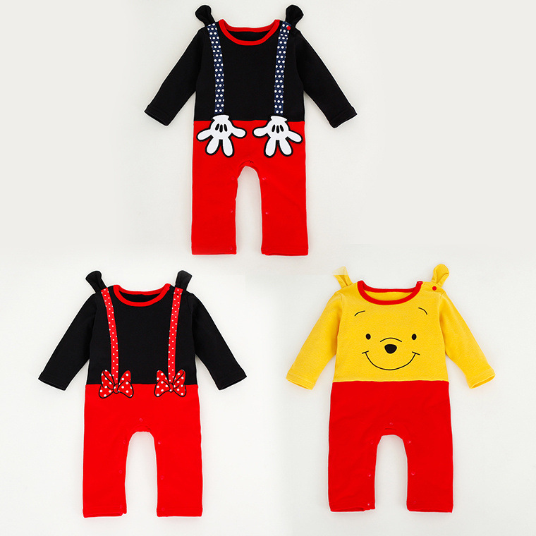 Baby Boy Girl Bear/Mouse Role Play Jumpsuits Newborn/Infant/Toddler Long Sleeve Rompers With Ear Para Roupa Infantil Free Ship(China (Mainland))