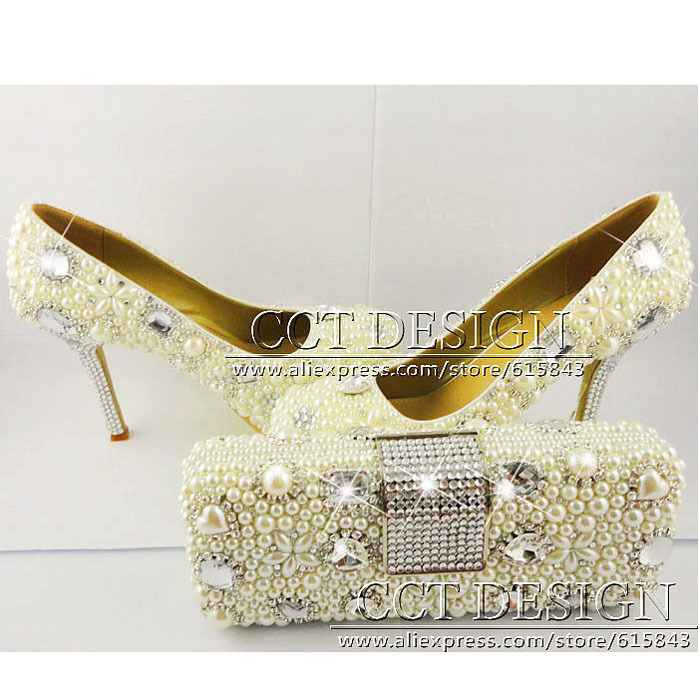 Crystal Shoes Wedding Shoes And Matching Clutch Bags Pearl Bridal Shoe Elegant Handmade Women's Shoes Married White High-Heels(China (Mainland))