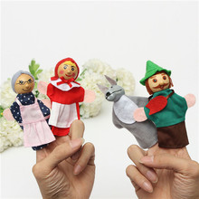 4PCS Little Cartoon Animal Red Riding Hood BABY Playful Finger Toys Puppets Story Party Bag Puzzle Storytelling Doll For Child(China (Mainland))
