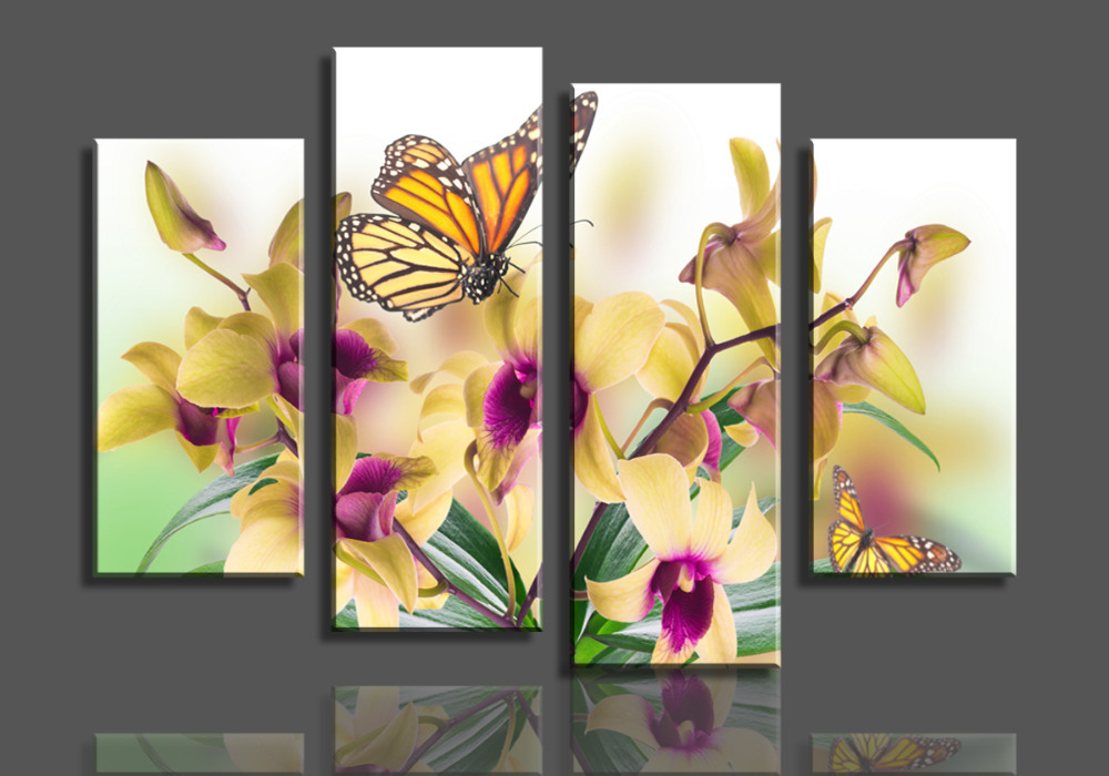 4 Panels Yellow Phalaenopsis Purple Flower Large HD Picture Canvas Oil Painting Artwork Modern DecorationWall Living room(China (Mainland))