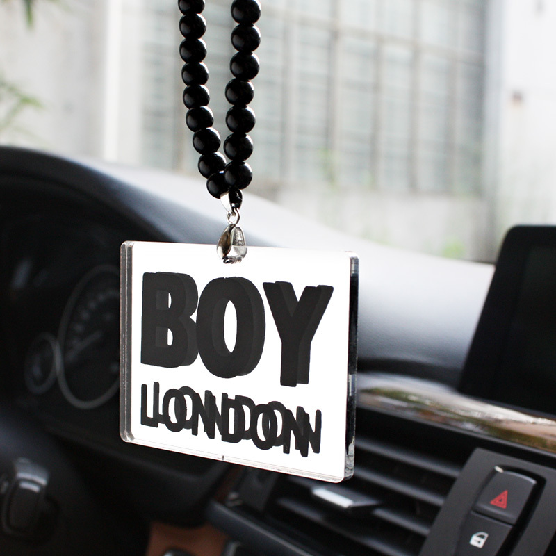 2015 London Boys Car Auto Fashion Pendant JDM Interior Rear View Mirror Ornament Hanging Dangle Charm Acrylic Silver Car-Styling(China (Mainland))