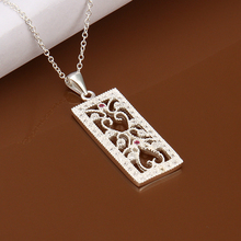 925 sterling silver jewelry fine fashion lucky hollow long square with stone necklace pendant for women wedding jewelry