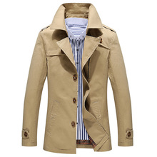 2016 Fashion Mens Trench Coat Men Cotton Washing Long Solid Black Windbreaker Overcoat Man Plus Size Long Trench Jackets Coat(China (Mainland))