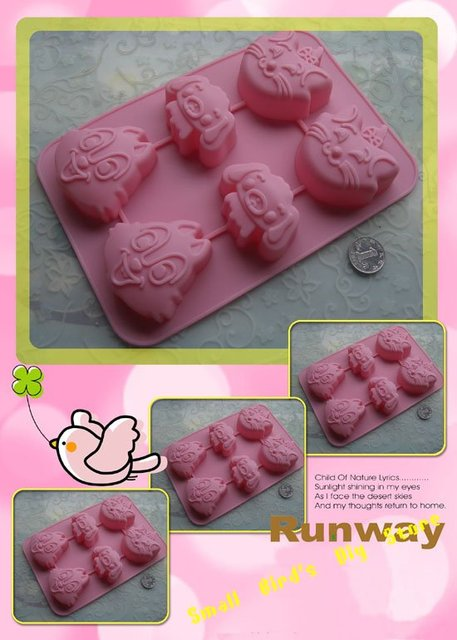 10pcs rabbit dog cat cartoons silicone cake mould/soap mold/bakeware/pastry/pudding jelly cup/biscuit/ice cream mold/gift