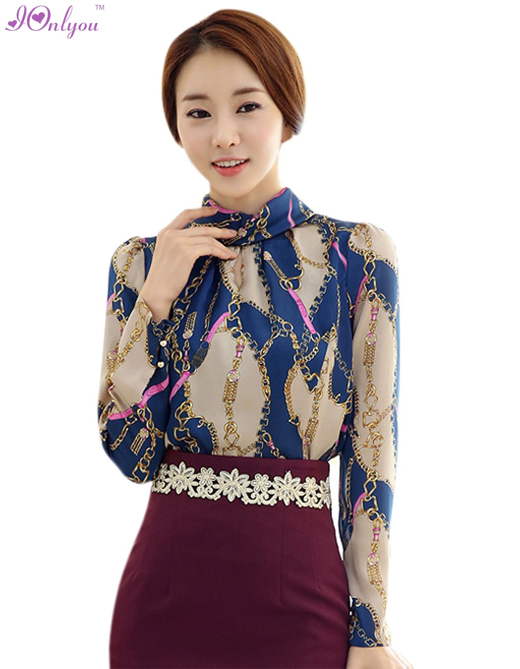 Blouse Stand Neck Designs : Women new fashion korean style long sleeve stand neck tops