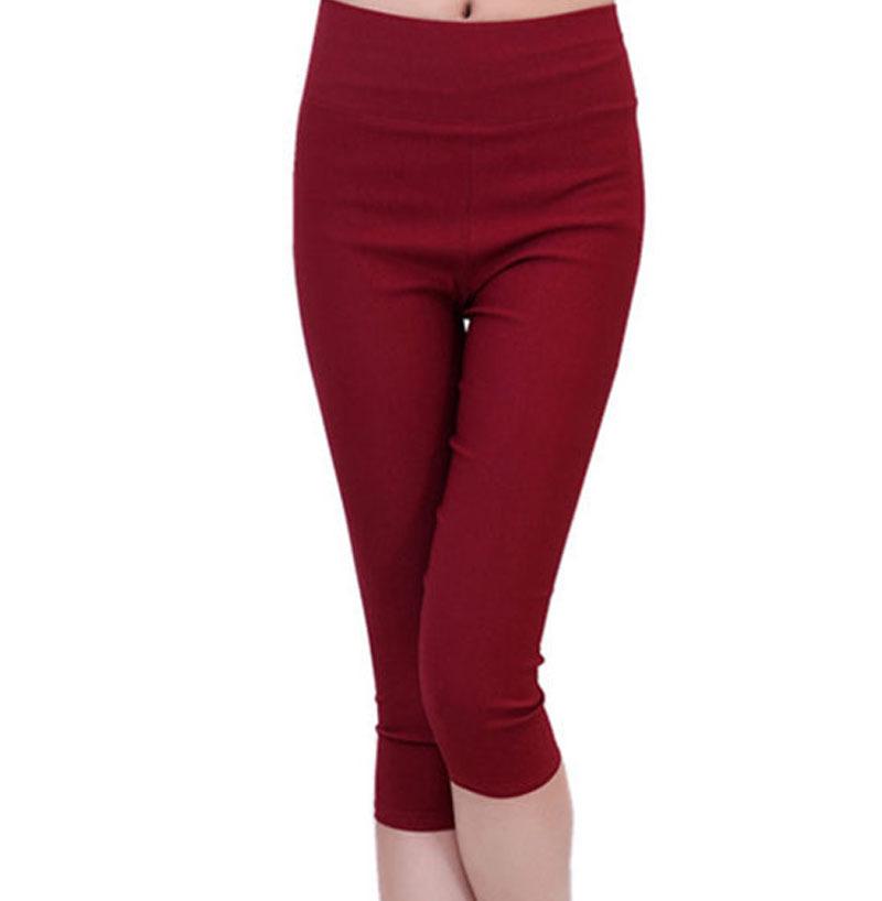 Высокая талия обнаженная леггинсы женские летние женские брюки свободного покроя конфеты сплошной цвет упругие тканые карандаш брюки Nu pieds роковой(China (Mainland))