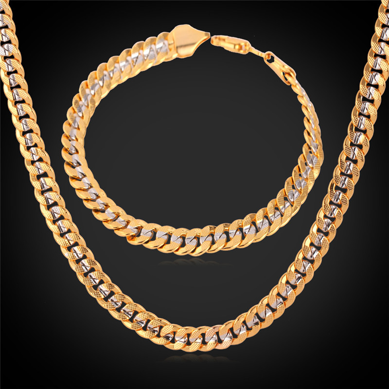 Two tone gold jewelry sets '18K' Stamp Real Gold platinum Plated free shipping wholesale Curb chain necklace bracelet men S5613
